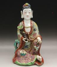 "9.8"" China Famille-rose Porcelain Buddhism Ruyi Kwan-yin Guan Yin Goddess Statue"