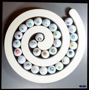 Clipboart ® Golfball Spirale 27 Golfspiel Geschenk Setzkasten Wandhalter Vitrine