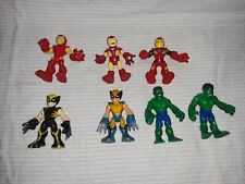 """Lot of 7 Playskool Hasbro Marvel Super Hero 2.5"""" Figures Iron Man Wolverine Hulk"""