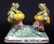 Vintage Basil Matthews Studio Art Pottery Pair of Frogs on Toadstools Figurine