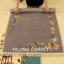 YILONG 3'x4.7' Gray Hand knotted Wool Carpets Chinese Art Deco Woolen Area Rug