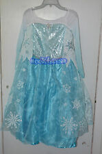 NWT 2014 Disney Store Authentic Frozen Elsa Costume Dress Gown Girls Size 7/8