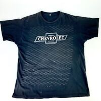 Chevrolet Men's Sz XL Black T-Shirt Logo Print Vtg 90s Tee Distressed Damaged