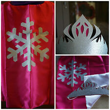 FROZEN KIDS CAPE AND TIARA PRINCESS ANNA PINK DRESS UP COSTUME CAPE AND MASK