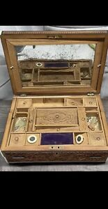 OOAK Intricate Antique Victorian Inlaid DESK Beautifully Carved TOO MUCH TO LIST