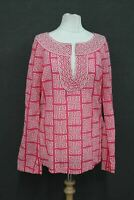 TORY BURCH Ladies Pink Long Sleeve Cotton Designer Tops Size 8 UK12 IT46 NEW
