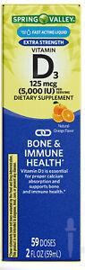 Spring Valley Liquid Vitamin D3 Bone & Immune Health Natural Orange 2 fl oz