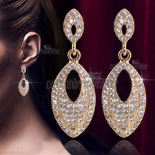 Sparkling Crystals Droplet Dangle Earrings Gift 18K Rose Gold Gf Luxury Infinity