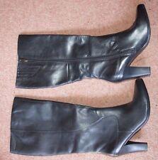 New Sz 6 39 Black Knee High Designer Tamaris Leather Heels Boots Zip side