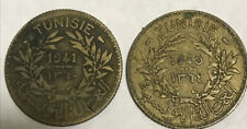 Tunisia 1 Franc 1941 & 1945 Coins with Old Littleton Envelope - Ships Free