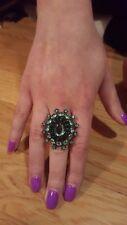 Green Rhinestone Stretch Ring