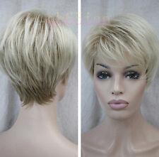 New Ladies Wig Short Light Blonde Mix Natural Hair Women Wigs+Free Wig Cap