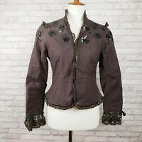 Odille jacket size 6 Victorian bodice eggplant purple cotton sequin trim