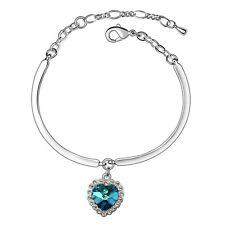 18K White Gold GP Made With Swarovski Crystal Titanic Love Ocean Heart Bracelet