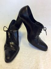 NINE WEST BLACK LEATHER LACE UP HEELS SIZE 6.5/40