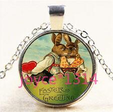 Vintage Easter Rabbit Cabochon Tibetan silver Glass Chain Pendant Necklace #5572