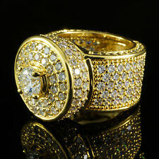 18K Gold Bling Out Prong Iced Simulated Diamond Band MICROPAVE Mens Ring NEW