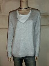 Sweater V-Neck PAUL & JOE Grey And White Size L Or 42