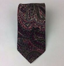 "Liberty of London Wool Paisley Made in England Men's Tie Plum Green 56"" x 3.25"""