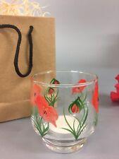 Hand Painted Votive Tea Light Holder Red Poppy Design