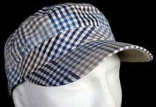 New Era EK Ace Military Khaki Army Cap Blue Brown Grey Plaid Hat - Size Medium