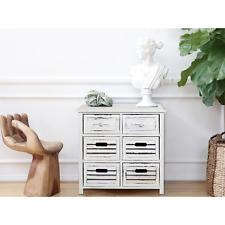 Mobili Rebecca® Comoda Cajonera 6Cajones Madera Blanco Decapado Dormitorio Baño