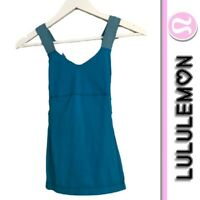 Lululemon Size 2 Teal Cross Back Bra Tank Top Style is push your limits
