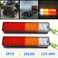 2x 20LED Waterproof Tail Lights Kit RV Camper Trailer Rear Turn Signal 12V-24V