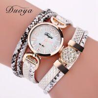 Women's Watch Bracelet Crystal Leather Dress Analog Quartz Luxury Wrist Watches