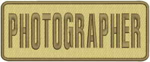 PHOTOGRAPHER embroidery patch 4x10 hook on back tan brown thread
