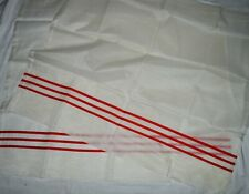 Vintage NEW NOS Sheer Swiss Dot Fabric red stripe kitchen Curtain Panels 36x42