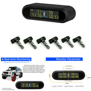 Solar TPMS Wireless Car Tire LCD Pressure Monitor System With 6 Sensors Internal
