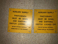 British Rail auxiliary  Supply Pantograph Must Be Down Sign
