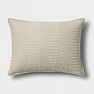 Project 62 + Nate Berkus Geo Stitched Neutral Pewter STANDARD Pillow Sham