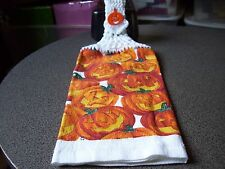 Halloween Pumpkins Jack O  Crochet Top Kitchen Towel