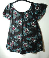 BLACK BLUE WHITE LADIES FLORAL CASUAL TOP BLOUSE SIZE 12 GEORGE