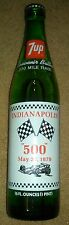 Indianapolis 500 1979 7 UP Souvenir Green Glass Bottle Winners List 7UP UNOPENED