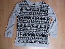H&M Pullover Winter/Weihnachten mit Rentier Gr. S in grau