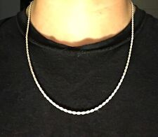Real Solid Silver Rope Chain 22in 2.5mm .925 Italy Stamped