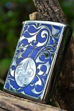 Zippo Lighter - Fleur De Lis Lys - Engraved - Lily Lotus Flower - Rare # 853440