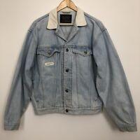 TRAFFIC Womens Light Blue Wash Vintage Trucker Cotton Denim Jacket Size 12 14