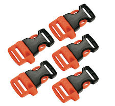 5x Whistle Buckle Clip ITW for 20 mm Webbing Strap, Orange / Black, Left Handed
