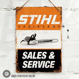 STIHL (Portrait) Metal Wall Sign Pub Bar Home Mancave Garage Chainsaw Tool Shed