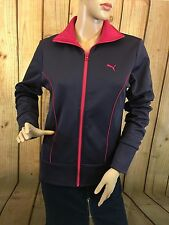 Puma Sweat Jacket Women's Purple Pink Trim Active Athletic Size S