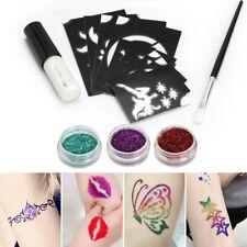 Kit Tatouage Temporaire Glitter Paillette Poudre Pochoir Corps Peinture Tattoo