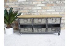 Metal Wooden Retro Industrial Cabinet 6 Drawer Low Sideboard Media Storage Unit