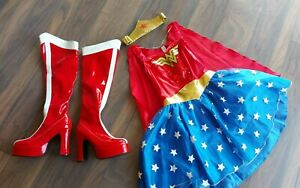 Adult Wonder Woman Costume & Boots Cosplay Size 8-10 Shoes 3-4 fancy dress small