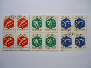Hungary 1960 SG1650-2 30fi-60fi Blocks of 4 unmounted franked
