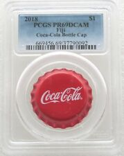 2018 Fiji Coca-Cola Bottle Cap Shaped $1 One Dollar Silver Proof Coin PCGS PR69