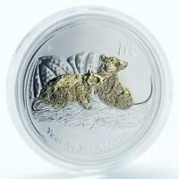 Australia 1 dollar Year of the Mouse Series II gilded silver coin 2008